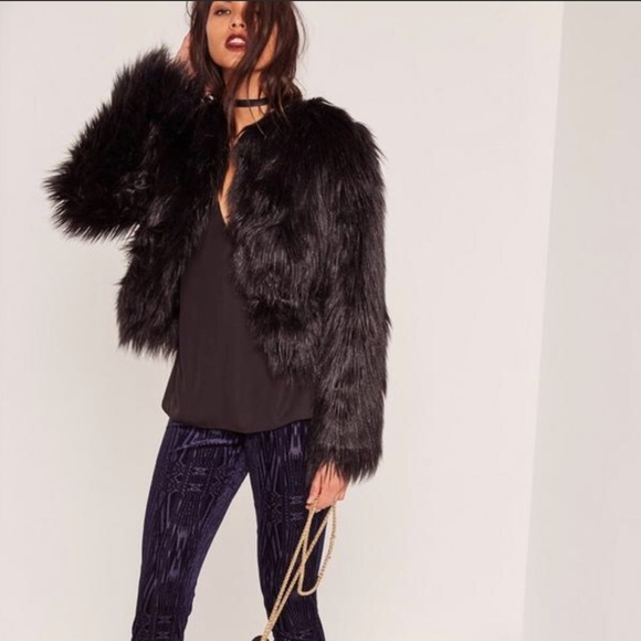 c5fa2cd8d1a Missguided Black Shaggy Faux Fur Jacket - Size M. M 5ba69ed0194dad7bea7191f4